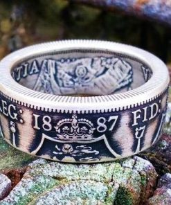 Victoria Sterling Silver British Florin Coin Ring