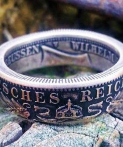 Silver German Zwei Mark (2 Mark) Coin Ring