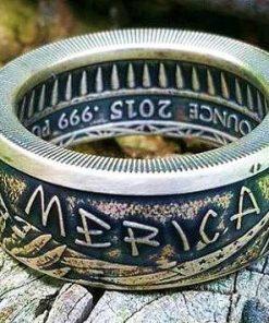 Merica Silver Bullion Coin Ring