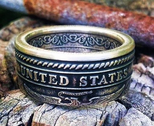 Semper Fidelis U.S. Marine Corps Silver Coin Ring
