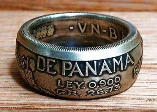 1947 Panama Balboa Silver Coin Ring