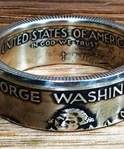 1982 Silver Washington Half Dollar Coin Ring