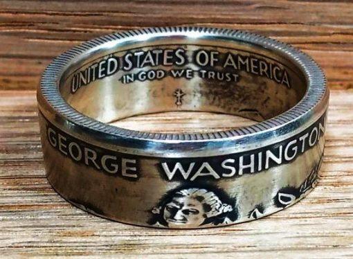 1982 Silver Washington Half Dollar Coin Ring